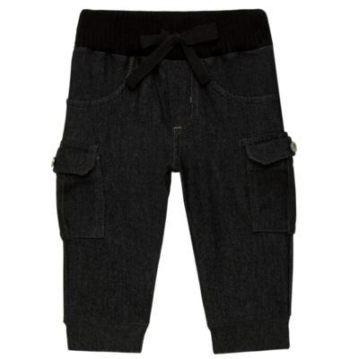 Imagem 1 do produto Calça Cargo jeans para bebe em fleece Black - Petit - 41154308 CALÇA C/ BOLSA LATERAIS FLEECE SAFARI -G
