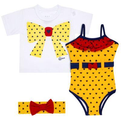 Imagem 1 do produto Conjunto de Banho Coraçõezinhos: Camiseta + Maiô + Tiara - Cara de Criança - KIT 1 1883CCA+M CORACOES-2