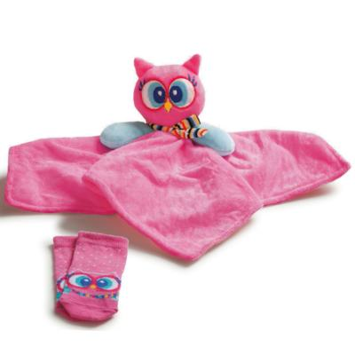 Imagem 1 do produto Kit Naninha para bebê + Meias Corujinha - Puket - PK6994-CO Kit Naninha + Meia Coruja-6-9
