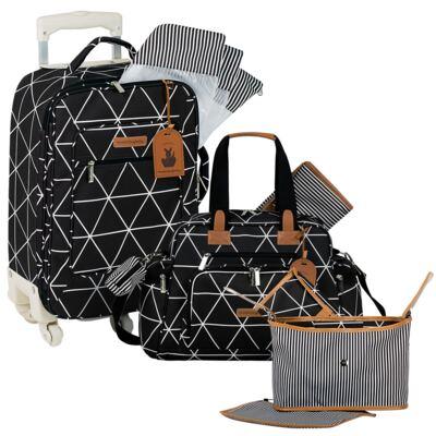 Imagem 1 do produto Mala maternidade com Rodízio + Bolsa Everyday + Frasqueira Organizadora Manhattan Preta - Masterbag