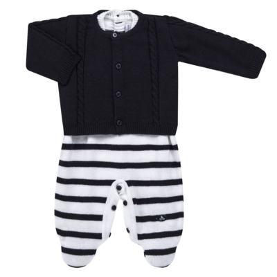 Imagem 1 do produto Macacão Pulôver c/ Casaquinho  para bebe em tricot Navy - Mini Sailor - 17994262 CASACO C/ JARDINEIRA TRICOT MARINHO -6-9