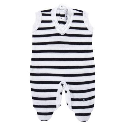 Imagem 2 do produto Macacão Pulôver c/ Casaquinho  para bebe em tricot Navy - Mini Sailor - 17994262 CASACO C/ JARDINEIRA TRICOT MARINHO -6-9