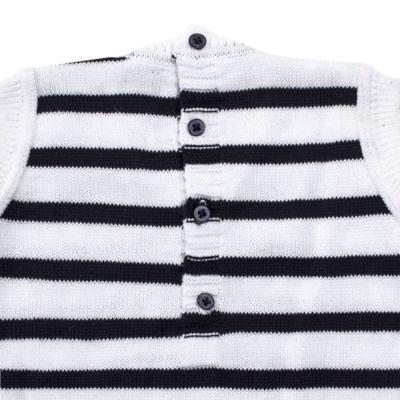 Imagem 4 do produto Macacão Pulôver c/ Casaquinho  para bebe em tricot Navy - Mini Sailor - 17994262 CASACO C/ JARDINEIRA TRICOT MARINHO -6-9