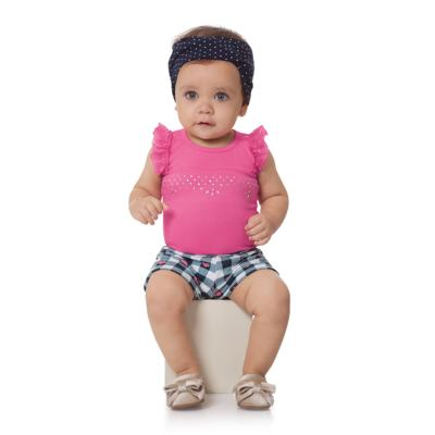 Imagem 4 do produto Body regata com shorts balonê para bebe Bubblegum - Time Kids - TK5054.PK CONJUNTO BODY E SHORTS XADREZ PINK-G