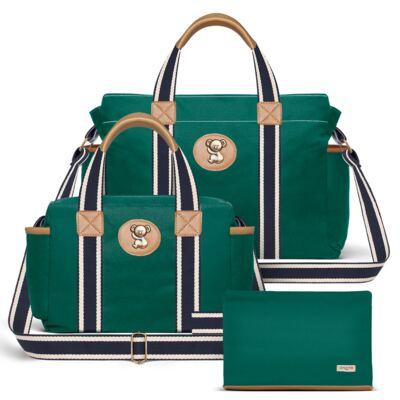 Imagem 1 do produto Bolsa Albany + Frasqueira Térmica Gold Coast + Necessaire Farmacinha em sarja Adventure Verde Oiliva - Classic for Baby Bags