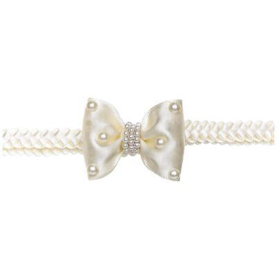Imagem 2 do produto Faixa de cabelo trançada Laço Pérolas Marfim - Roana - 642-K Faixa de Cabelo Trançada Laço pérolas Marfim