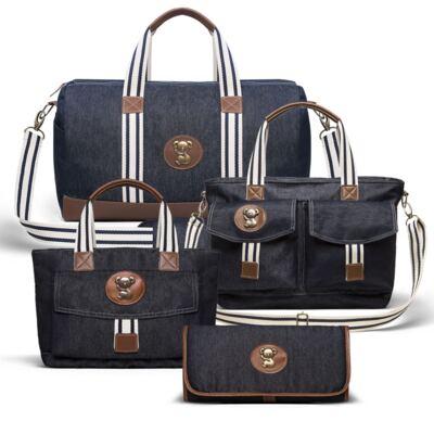 Imagem 1 do produto Bolsa Passeio para bebe + Bolsa Melbourne + Frasqueira Térmica Brisbane + Trocador Portátil Adventure Jeans - Classic for Baby Bags