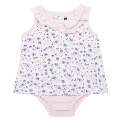 Imagem 1 do produto Body Vestido para bebe em cotton Flourish - Mini Sailor - 01244440 BODY VESTIDO C/LACO COTTON FLORAL ROSA-9-12