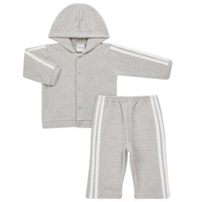 Imagem 1 do produto Casaco c/ capuz e Calça para bebe em soft Cinza - Tilly Baby - TB0172020.06 CONJ. CASACO COM CALÇA SOFT CINZA-M
