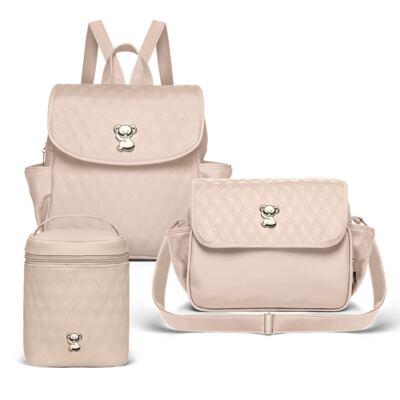 Imagem 1 do produto Mochila Maternidade + Bolsa térmica Nice + Bolsa térmica Firenze Golden Koala Caqui - Classic for Baby Bags