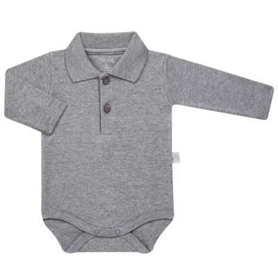 Imagem 1 do produto Body Polo longo para bebe em suedine Mescla - Tilly Baby - TB13102.06 BODY POLO MANGA LONGA MESCLA-M