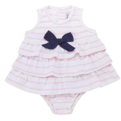 Imagem 1 do produto Body Vestido para bebe em suedine Lolita - Mini Sailor - 01224441 BODY VESTIDO C/LACOS SUEDINE ROSA BEBE-NB