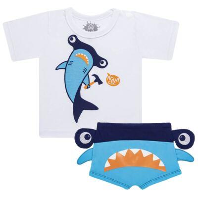 Imagem 1 do produto Conjunto de Banho Tubarão Martelo: Camiseta + Sunga - Cara de Criança - KIT 1 2910: SB2910 + CCA2910 SUNGA BOXER E CAMISETA TUBARAO MARTELO-6