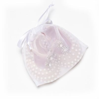 Imagem 5 do produto Sapatilha para bebe em cetim Pérolas & Strass Rosê - Roana - SPE00036003 Sapatilha Especial Mini Pérolas Rose-M