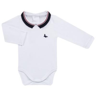 Imagem 1 do produto Body Polo longo em cotton touch Branco - Mini Sailor