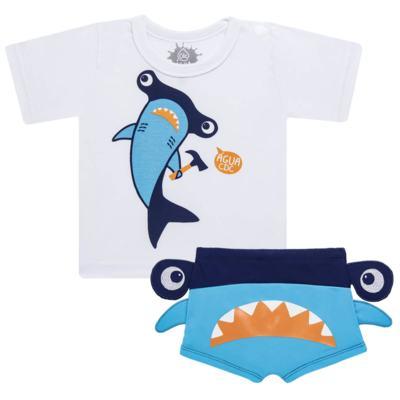 Imagem 1 do produto Conjunto de Banho Tubarão Martelo: Camiseta + Sunga - Cara de Criança - KIT 1 2910: SB2910 + CCA2910 SUNGA BOXER E CAMISETA TUBARAO MARTELO-1