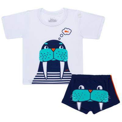 Imagem 1 do produto Conjunto de Banho Morsa: Camiseta + Sunga - Cara de Criança - KIT 2 2532: SB2532+CCA2532 SUNGA E CAMISETA MORSA-3
