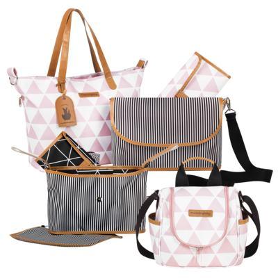 Imagem 1 do produto Bolsa 4 em 1 Sofia + Frasqueira térmica Emy + Frasqueira Organizadora Manhattan Rosa - Masterbag