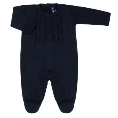 Imagem 1 do produto Macacão longo para bebe em tricot trançado Marinho - Mini Sailor - 21804262 Macacão Longo Recorte Trançado Tricot Marinho -NB