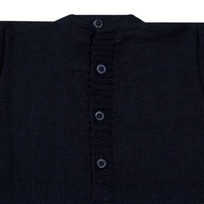 Imagem 2 do produto Macacão longo para bebe em tricot trançado Marinho - Mini Sailor - 21804262 Macacão Longo Recorte Trançado Tricot Marinho -NB