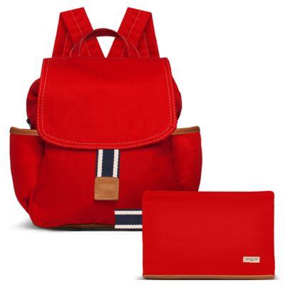 Imagem 1 do produto Mochila maternidade + Necessaire Adventure em sarja Vermelha - Classic for Baby Bags
