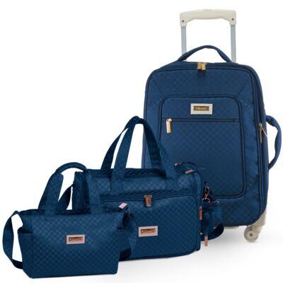 Imagem 1 do produto Mala Maternidade com rodízio + Bolsa Anne + Frasqueira Alice Paris Marinho - Masterbag