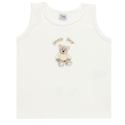 Imagem 2 do produto Regata c/ Cobre fralda para bebe em algodão egípcio Ursinho - Petit - 17944346 REGATA C/ COBRE FRALDA SUED.VISCO URSO NEUTRO -M