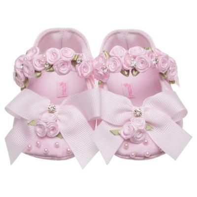 Imagem 1 do produto Sapatilha para bebe em cetim Laço & Flores Rosa - Roana - 20040038046 SAPATILHA LUXO ROSA-P