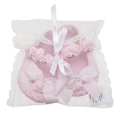 Imagem 3 do produto Sapatilha para bebe em cetim Laço & Flores Rosa - Roana - 20040038046 SAPATILHA LUXO ROSA-P