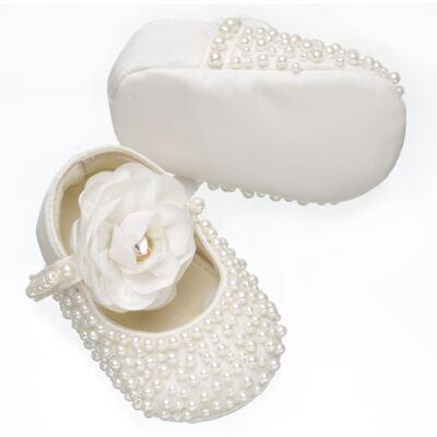 Imagem 3 do produto Sapatilha para bebe em cetim Pérolas & Flor Marfim - Roana - SPL00060031 Sapatilha Pérolas Flor Marfim-P