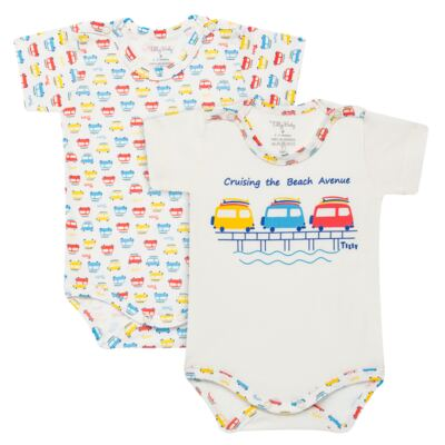 Imagem 1 do produto Kits 2 Bodies curtos para bebe em malha Carrinhos - Tilly Baby - TB16813 BODY MC MASC 2 PÇS CARRINHOS-M