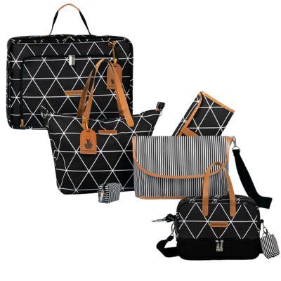 Imagem 1 do produto Mala maternidade Vintage + Bolsa 4 em 1 Sofia + Frasqueira térmica Vicky Manhattan Preta - Masterbag