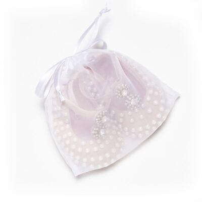 Imagem 5 do produto Sapatilha para bebe em cetim Pérolas & Strass Rosê - Roana - SPE00036003 Sapatilha Especial Mini Pérolas Rose-RN