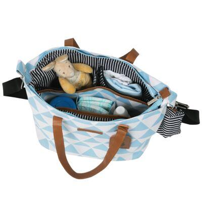 Imagem 5 do produto Mala maternidade Vintage + Bolsa 4 em 1 Sofia + Frasqueira térmica Vicky + Mochila Noah Manhattan Azul - Masterbag