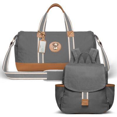 Imagem 1 do produto Bolsa Passeio para bebe + Mochila Adventure em sarja Chumbo - Classic for Baby Bags