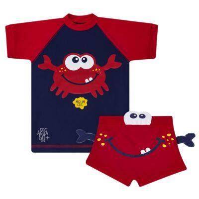 Imagem 1 do produto Conjunto de Banho Caranguejo: Camiseta surfista + Sunga - Cara de Criança - KIT 2 2903: SB2903 + CSA2903 SUNGA E CAMISETA CARANGUEIJO-6