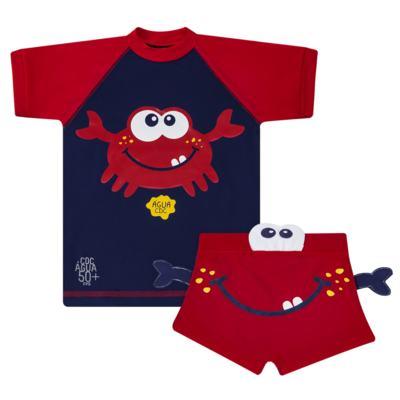 Imagem 1 do produto Conjunto de Banho Caranguejo: Camiseta surfista + Sunga - Cara de Criança - KIT 2 2903: SB2903 + CSA2903 SUNGA E CAMISETA CARANGUEIJO-1