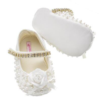 Imagem 3 do produto Sapatilha para bebe em cetim Pérolas & Flor Marfim - Roana - 20030020031 Sapatilha em Pérolas/Strass Marfim-P