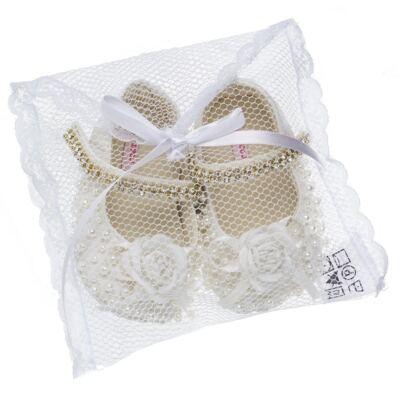 Imagem 4 do produto Sapatilha para bebe em cetim Pérolas & Flor Marfim - Roana - 20030020031 Sapatilha em Pérolas/Strass Marfim-P