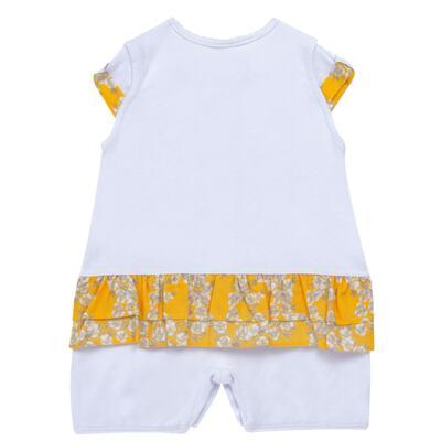 Imagem 3 do produto Macacão curto para bebe em algodão egípcio c/ jato de cerâmica Daisy - Mini & Classic - 3019657 MACACAO M/C C/BABADOS SUEDINE FLORAL AMARELO-M