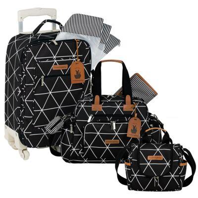 Imagem 1 do produto Mala Maternidade com Rodízio + Bolsa Everyday + Frasqueira térmica Emy Manhattan Preta - Masterbag