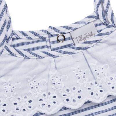 Imagem 3 do produto Vestido com Calcinha para bebe em malha Navy - Tilly Baby - TB168201 CONJ FEMININO VESTIDO C/ CALCINHA LISTRADO-P
