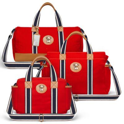 Imagem 1 do produto Bolsa Passeio para bebe + Bolsa Albany + Frasqueira Térmica Gold Coast Adventure em sarja Vermelha - Classic for Baby Bags