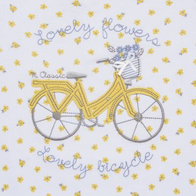 Imagem 2 do produto Macacão curto para bebe em malha Daisy - Mini & Classic - 3060657 MACACAO M/C FEM MALHA FLORAL AMARELO-P
