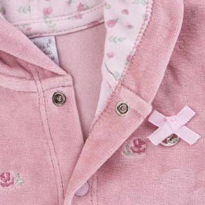 Imagem 3 do produto Casaco c/ capuz e Calça para bebe em plush Florale - Mini & Classic - 19284172 CONJ CASACO RET CALÇA PLUSH E SU FLORAL -P