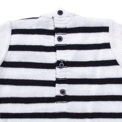 Imagem 4 do produto Macacão Pulôver c/ Casaquinho  para bebe em tricot Navy - Mini Sailor - 17994262 CASACO C/ JARDINEIRA TRICOT MARINHO -NB