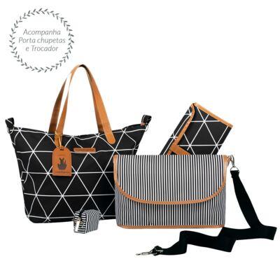 Imagem 3 do produto Mala maternidade com Rodízio + Bolsa Sofia 4 em 1 + Frasqueira térmica Vicky + Mochila Noah + Necessaire para bebe Manhattan Preta - Masterbag