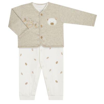 Imagem 1 do produto Macacão com Casaco para bebe em algodão egípcio c/ jato de cerâmica e filtro solar fps 50 Nature Little Friend Bear - Mini & Kids - CJMC0001.18 CONJ.MACACÃO C/CASACO METELASSÊ-SUEDINE-G