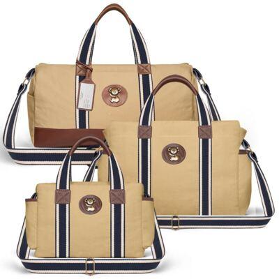 Imagem 1 do produto Bolsa Passeio para bebe + Bolsa Albany + Frasqueira Térmica Gold Coast em sarja Adventure Caramelo/Café - Classic for Baby Bags