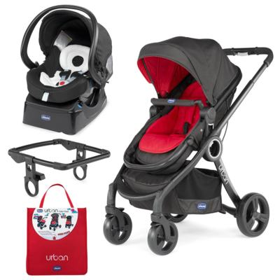 Imagem 1 do produto Urban Travel System: Carrinho Urban Plus + Color Pack Red Wave + Adaptador + Poltrona Auto Fix Fast Black Night - Chicco